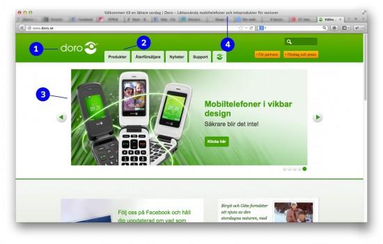 Skärmbild från Doros hemsida doro.se. Snygg? Ja! Begriplig? Nej.