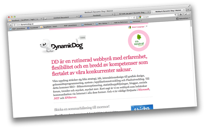 DynamicDogs nuvarande (och snart gamla) hemsida