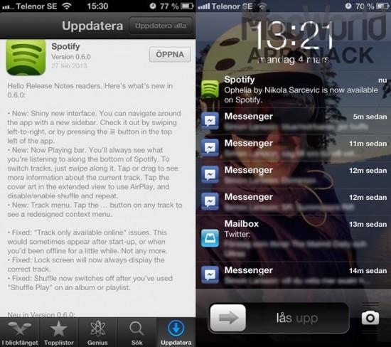 Spotify uppdaterar med nya GUI finesser och så ser en Spotify-notis ut.